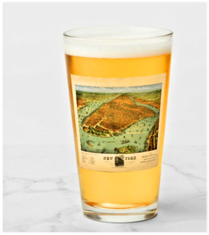 New York Subway Map Drinking Glass 16oz.An 1879 Remastered Aerial Map Of New York On Shaker Glass